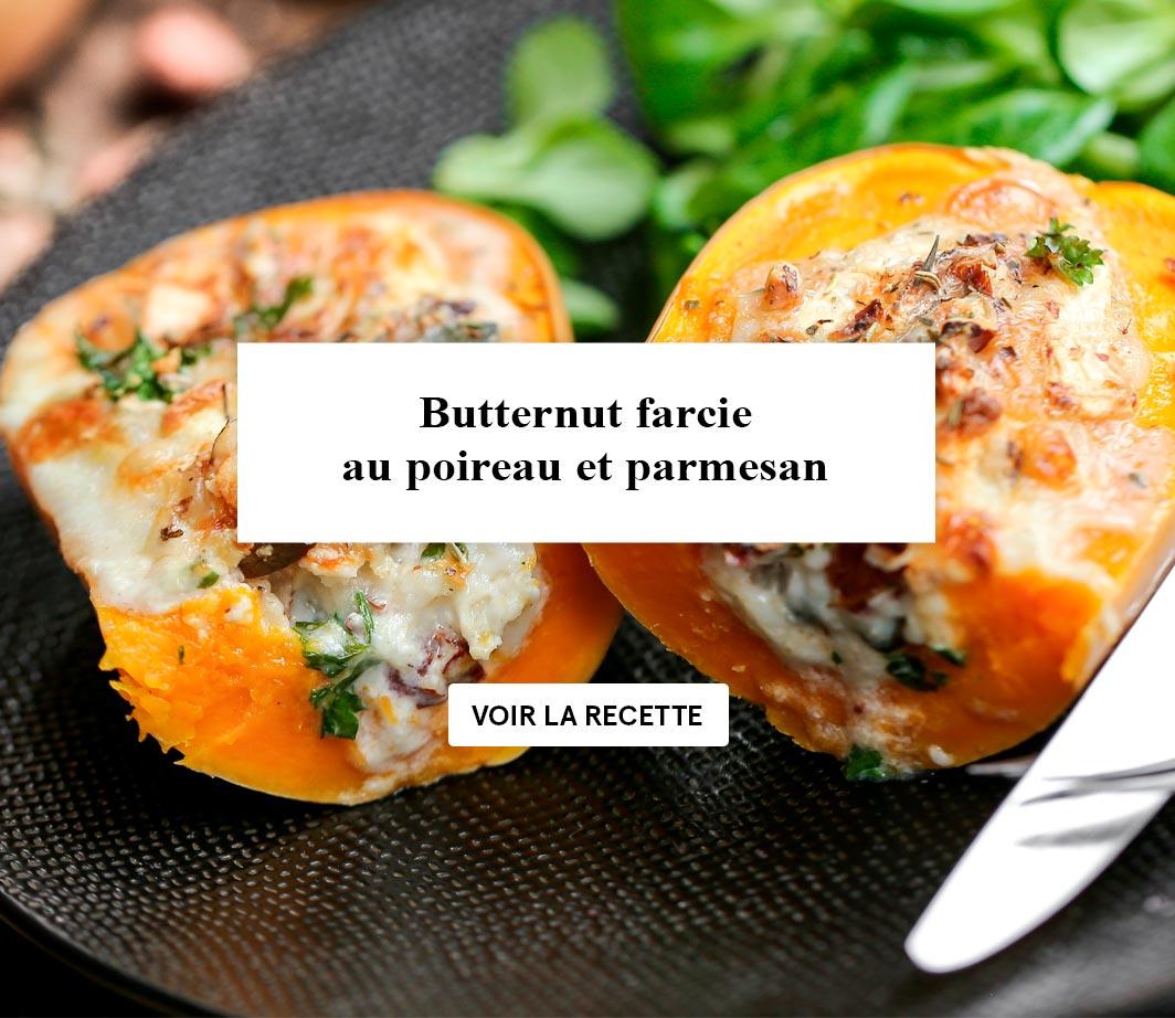 Butternut farcie poireaux et parmesan