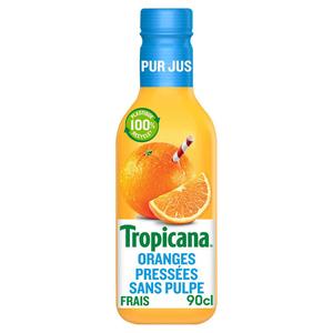 Tropicana orange sans pulpe la bouteille de 900 ml.