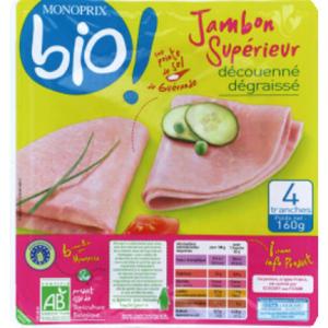 Monoprix Bio Jambon Supérieur 160g