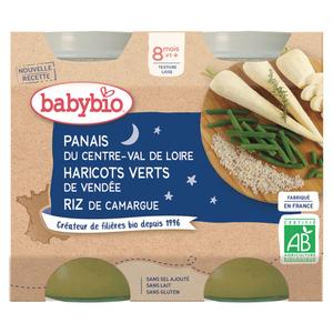 Babybio Pot Panais, Haricots Verts & Riz 8M 2x200g Bio