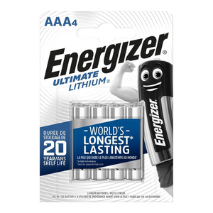 Energizer Piles LR03/AAA Ultimate Lithium x4.