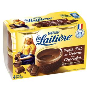 La Laitiere crème au chocolat le pack de 4x100g.