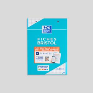 Oxford Bloc fiches Bristol couleurs, A5