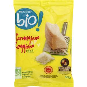 Monoprix Bio Parmigiano Reggiano râpé bio AOP 50g