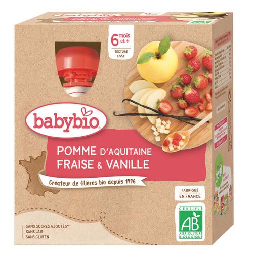 Babybio Gourde Bébé Pommes Fraises Vanille 6M 4X90GBio
