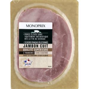 Monoprix Jambon cuit  sans couenne 2x80g