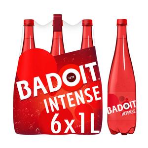 Eau gazeuse Badoit Rouge fortement pétillante 6x1L.