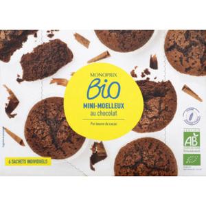Monoprix Bio Mini moelleux au chocolat bio au pur beurre de cacao x6