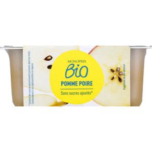 Monoprix Bio compote pomme poire sans sucres bio 4x100g.