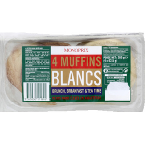 Monoprix 4 Muffins blancs recette anglaise 250g