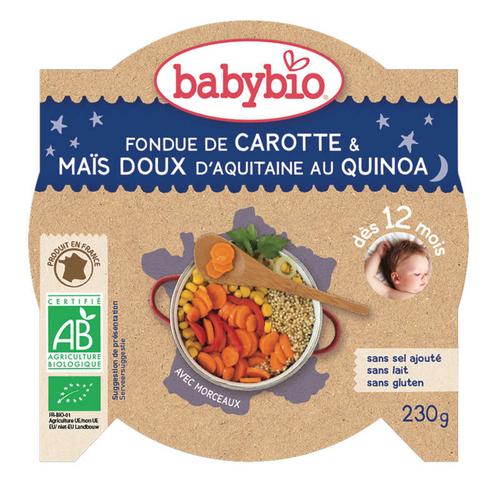 Babybio Fondue de carotte, maïs et quinoa, dès 12 mois, bio 230g.