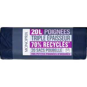 Monoprix Sacs poubelle à poignées 70% recyclés20L