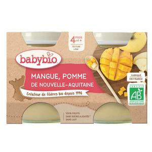 Babybio Compotes Pomme Mangue Dès 4 Mois 2x130g.