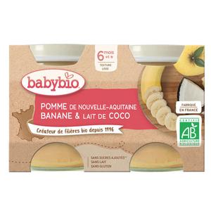 Babybio Dessert Pomme d'Aquitaine Banane & Lait de Coco Dès 6 mois 2x130g.