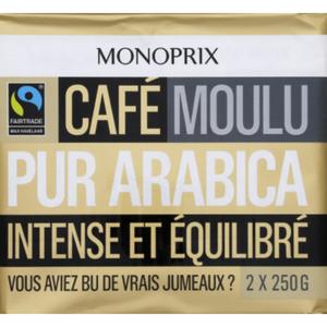 Monoprix Café moulu pur arabica intense et équilibré 2x250g.
