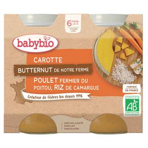 Babybio Petits Pots Carotte Butternut Poulet Fermier Dès 6 Mois 2x200g