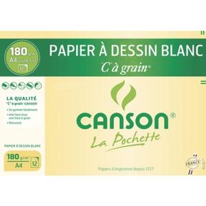 Canson Papier à Dessin Blanc, C à Grains, A4, 180Gr/M², 12 Feuilles