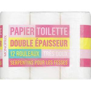 Monoprix Papier toilette double épaisseur x12.