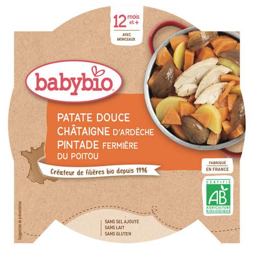 Babybio Assiette Patate Douce, Châtaigneet Pintade 12M 230g Bio