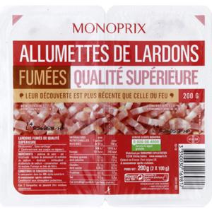 Monoprix lardon allumette fumé 2x100g