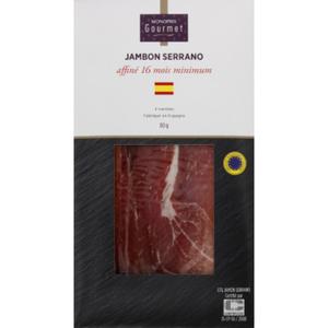 Monoprix Gourmet Jambon Serrano Affiné 16 mois minimum 80g
