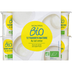 Monoprix yaourt nature le pack de 12x125g