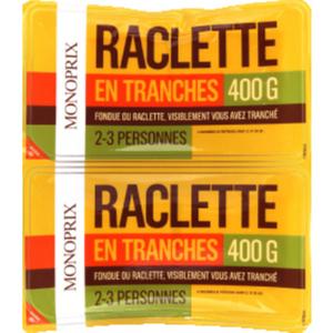 Monoprix Raclette en Tranches pour 2-3 Personnes 400g.