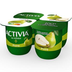Activia yaourt bifidus aux poires le pack de 4x125g