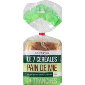 Monoprix Pain de mie aux 7 céréales 550g