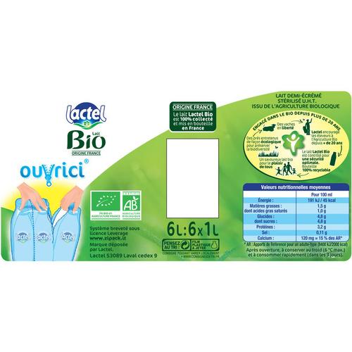 Lactel lait bio demi-écrémé le pack de 6x1L