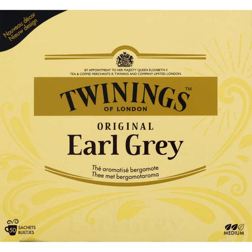 Twinnings Thé Original Earl Grey 50 Sachets 100g.