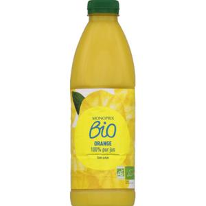 Monoprix Bio Jus d'orange 100% pur jus sans pulpe bio 1L.