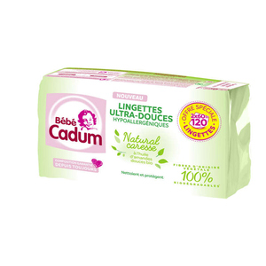 Cadum Lingettes Natural Caresse 2x60