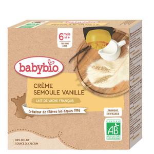 Babybio crème semoule vanille bio 6M le pack de 4x85g