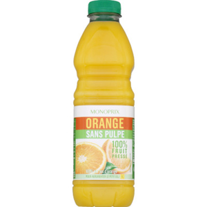 Monoprix Jus orange sans pulpe 100% fruit pressé 1L