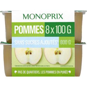 Monoprix purée de pommes sans sucres 8x100g