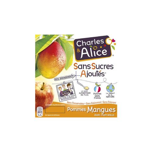 Charles & Alice Desserts fruités pommes et mangues 4x100g.