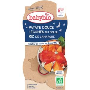 Babybio Patate douce Légumes du Soleil & Riz de Camargue 2x200g
