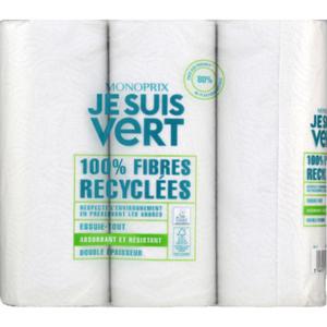 Monoprix Je suis Vert Esuie-Tout 100% Fibres Recyclées x3