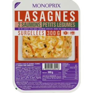 Monoprix Lasagnes 2 Saumons Petits Légumes 300g.