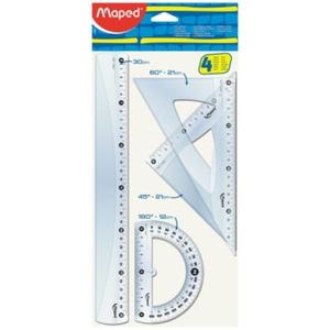 Maped Kit de traçage : 1 règle 30cm, 2 équerres et 1 rapporteur..