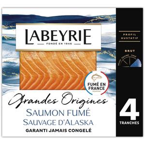 Labeyrie Saumon Fumé Sauvage D'Alaska Pêche À La Ligne Grandes Origines 4 Tranches 120g.
