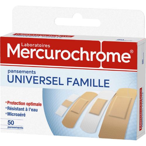 Mercurochrome Pansements Famille, Protection Optimale, Waterproof, Hypoallergénique, Ultra-Extensible, Microaéré, X50