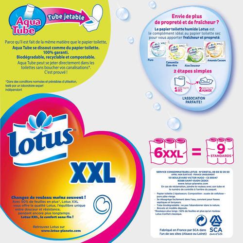 Lotus Papier Toilette XXL 2 Epaisseurs Pack de 6 Rouleaux
