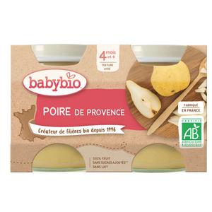 Babybio Petits Pots Poire de Provence Dès 4 Mois 2x130g.