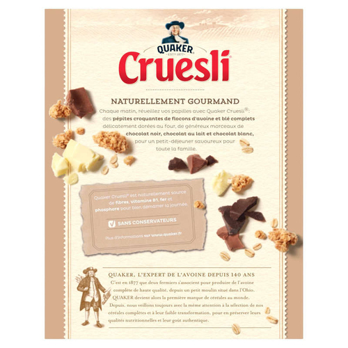 Quaker Cruesli Complètes Aux 3 Chocolats 450g