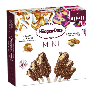 Häagen-Dazs 6 Mini Bâtonnets Caramel Macadamia 222g.