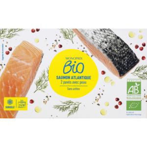 Monoprix Bio pavés de Saumon sans  Arêtes 200g