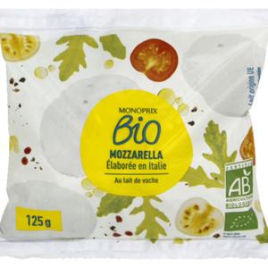 Monoprix Bio mozzarella au lait de vache bio 125g
