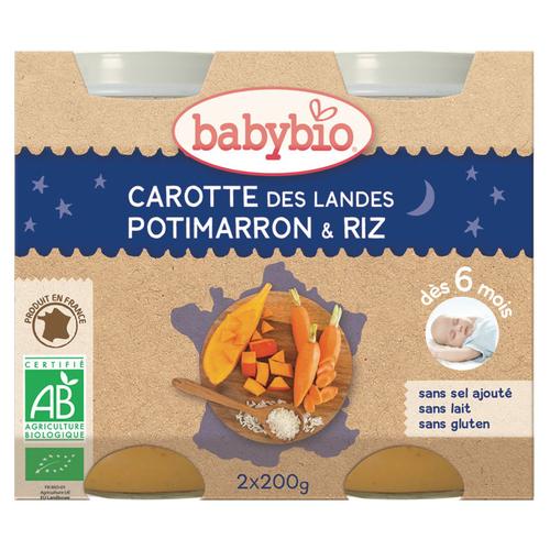 Babybio Petits pots carottes potimarron & riz, dès 6mois, bio 2x200g